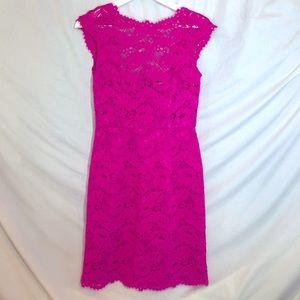 Shoshanna bright pink lace size 0 cap sleeve Dress